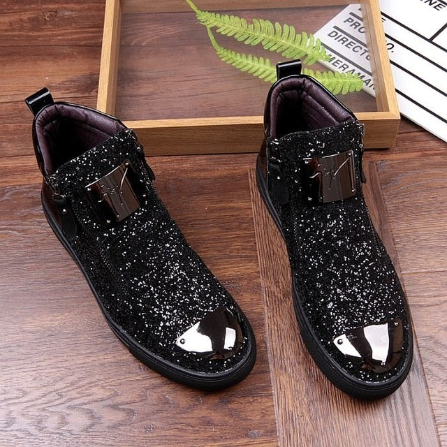New Men's Casual Fashion Zipper Outdoor High-Top Shoes Man Slip-On Boots Mens Driving Party Flats