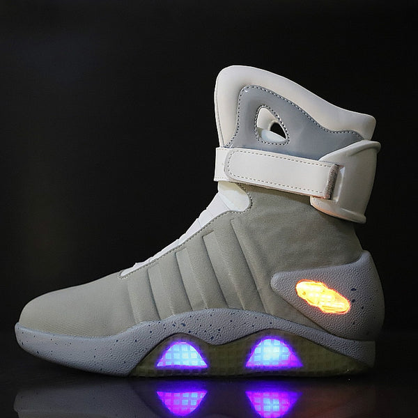Future World Soldiers Men Walking Shoes Limited Edition Led Luminous Light Up High Top Boots USB Charge Party Shoes 45 46