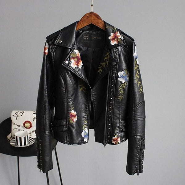 Floral Print Embroidery Faux Soft Leather Jacket