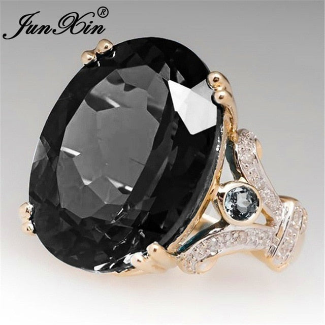 Lavish Luxury Female Big Black Stone Ring