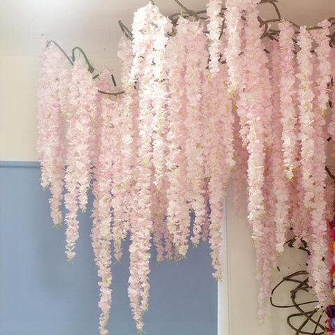 100CM artificial Cherry blossom vine silk flowers Sakura for party Wedding ceiling decor fake garland arch ivy diy party decor