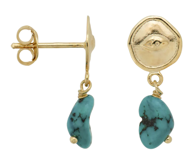 ANNA+NINA Anna+Nina Single Turquoise Spy Stud Gold Plated - A Lovely Day IJmuiden