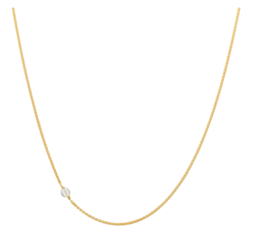 ANNA+NINA ANNA+NINA White Quartz Necklace Long Goldplated - A Lovely Day IJmuiden