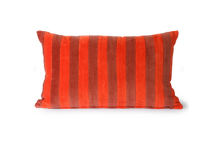 HK Living Kussen Striped Velvet Cushion Red/Bordeaux