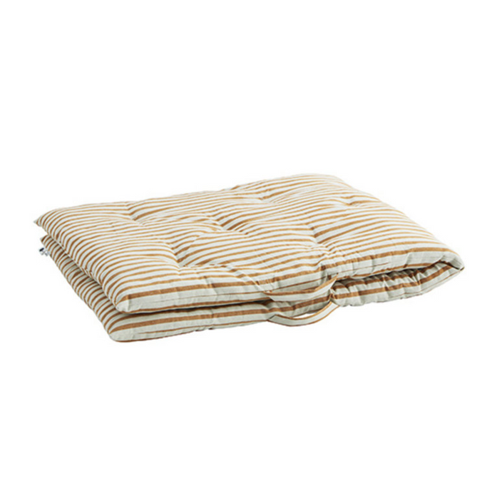 Madam Stoltz Matras Striped Cotton Off White, Dark Honey