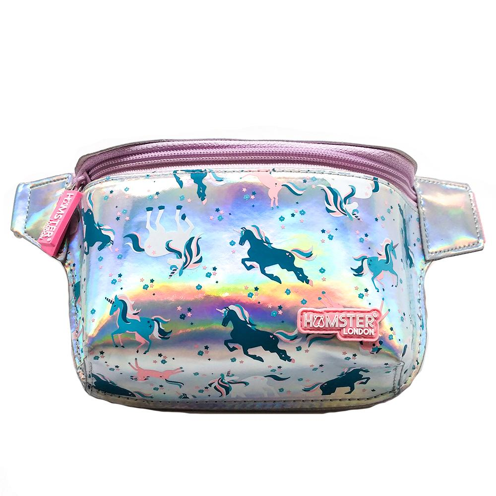 Girl's Waist Bag Unicorn With Glitter Bottle Light Pink