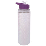 Glitter Sipper Water Bottle White Purple