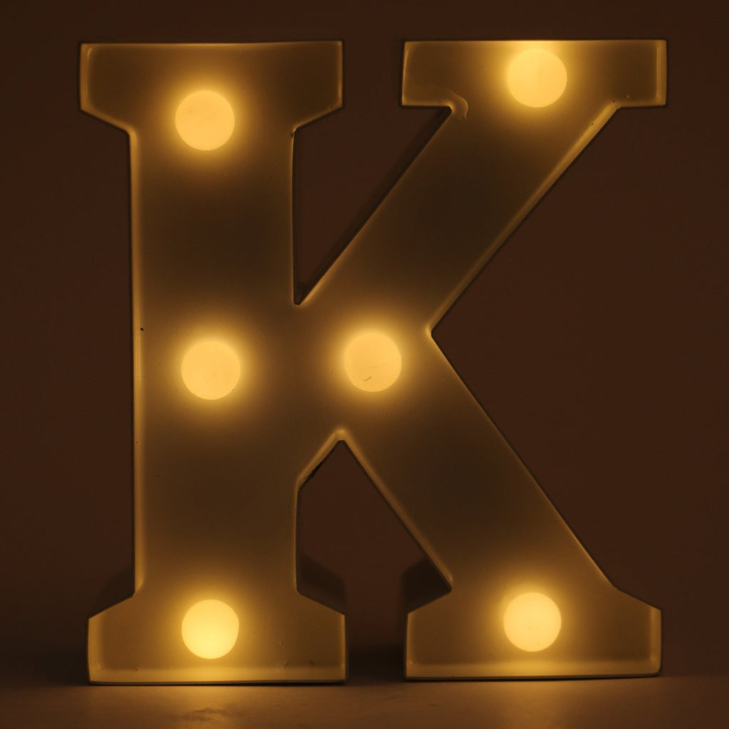 K letter shaped light from Hamster London for decoration purposes. it is a must have product for parties and kids bday party.