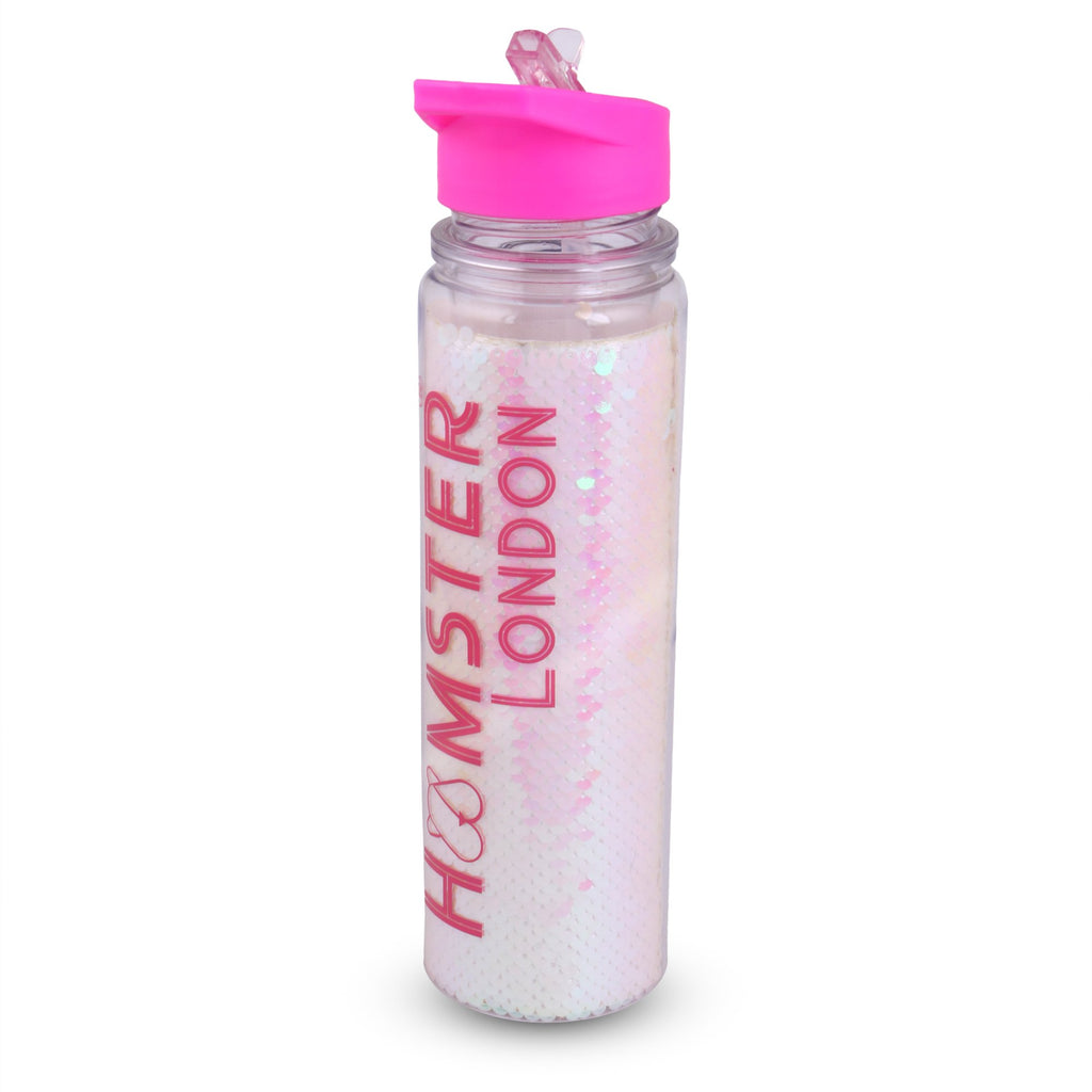 Glitter Sipper Water Bottle White Sequence