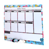 Magnetic White Board Memo Pad, Colored Gel Pen,  gel Crayon, and 2d Glass Magnets Unicorn