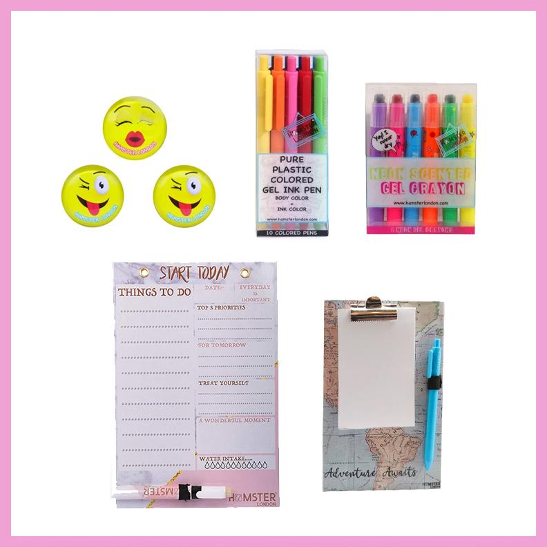 Magnetic White Board Memo Pad, Colored Gel Pen,  gel Crayon, and 2d Glass Magnets Smile
