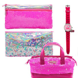 Sequence Pink Combo Watch + Pouch + Hand Bag
