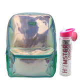 Shiny Backpack Aqua Big With Glitter Bottle Silver