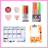 Magnetic White Board Memo Pad, Colored Gel Pen,  Scented Gel Marker, and 2d Glass Magnets Heart