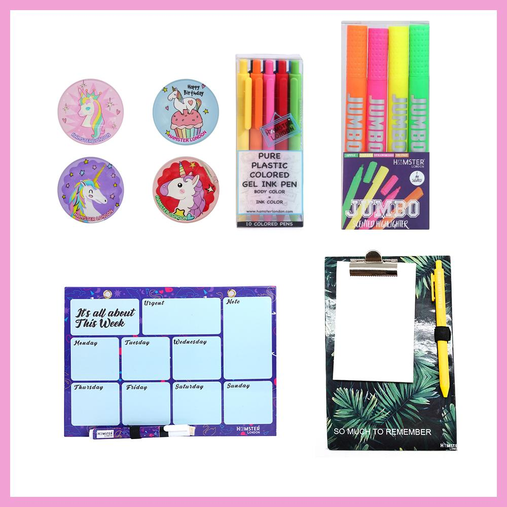 Magnetic White Board Memo Pad, Colored Gel Pen,  Scented Gel Marker, and 2d Glass Magnets Unicorn