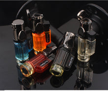 Load image into Gallery viewer, Visible gas Blue Flame Torch Turbo Lighter Spray Gun Electronic Lighter