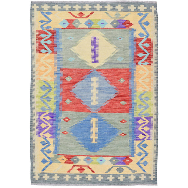 "Vegetable Kilim 3' 5""  x  5' 1"" (ft) - No. AL70548 - ALRUG Rug Store"