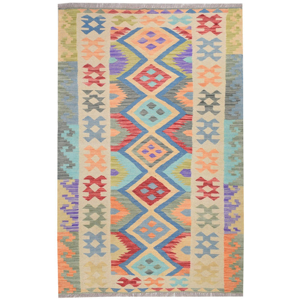 "Vegetable Kilim 3' 7"" x 5' 8"" (ft) - No. AL94826 - ALRUG Rug Store"
