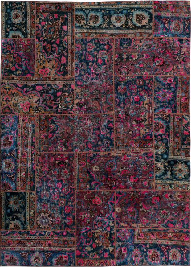 Multi Colored Patchwork 6' 11 x 9' 11 - No. 37481 - Alrug Rug Store