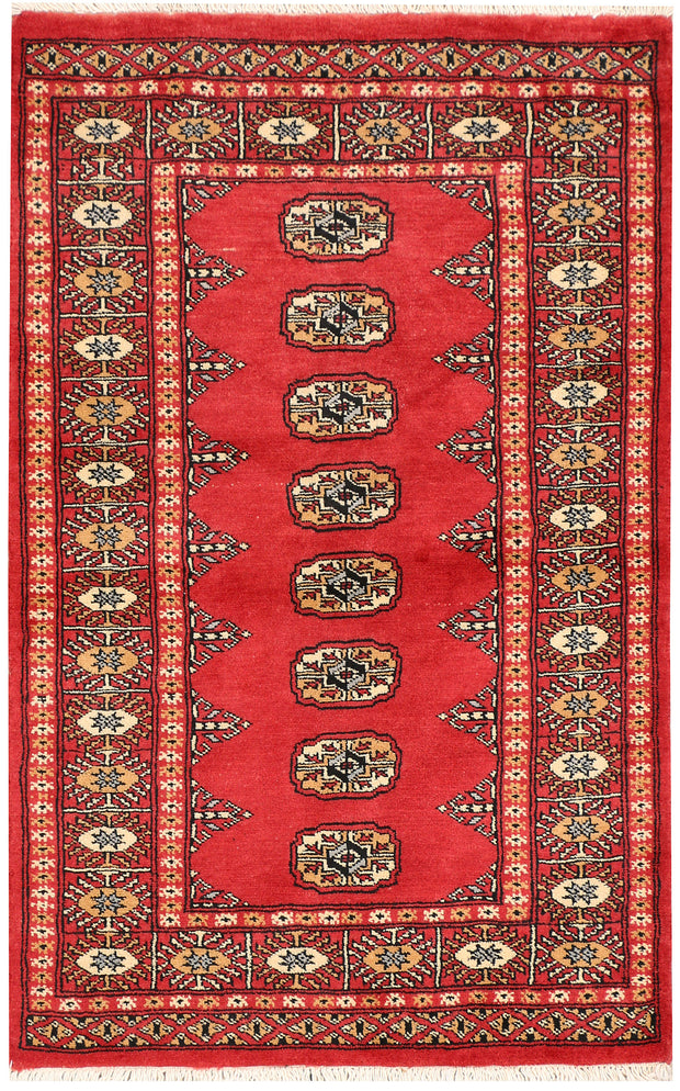 Indian Red Bokhara 2' 7 x 4' - No. 44642 - ALRUG Rug Store