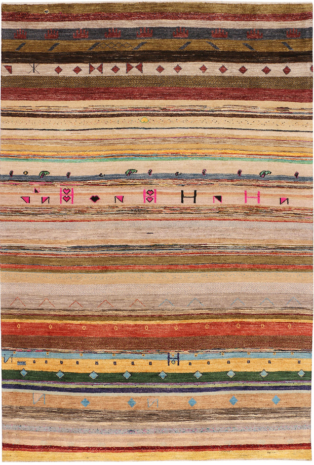 Multi Colored Gabbeh 6' 3 x 9' 2 - No. 48296 - ALRUG Rug Store
