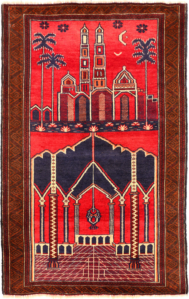 Tomato Prayer 2' 10 x 4' 6 - No. 54621 - Alrug Rug Store