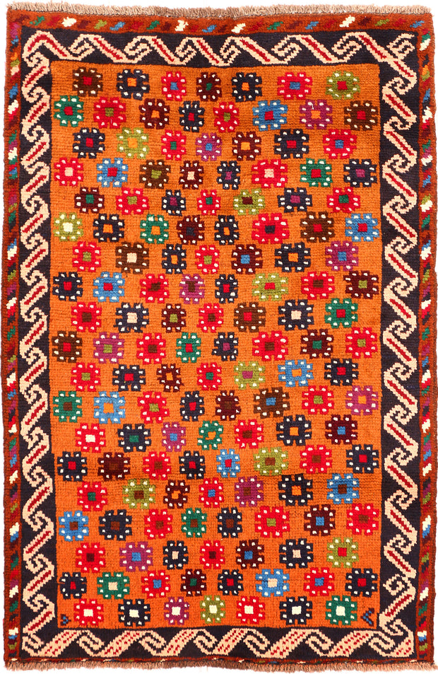 Dark Orange Baluchi 3' 4 x 4' 9 - No. 55143 - Alrug Rug Store