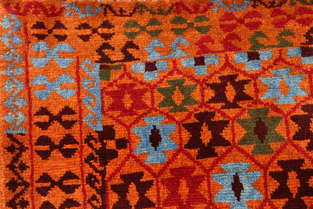 Dark Orange Baluchi 3' 5 x 4' 10 - No. 55167 - Alrug Rug Store