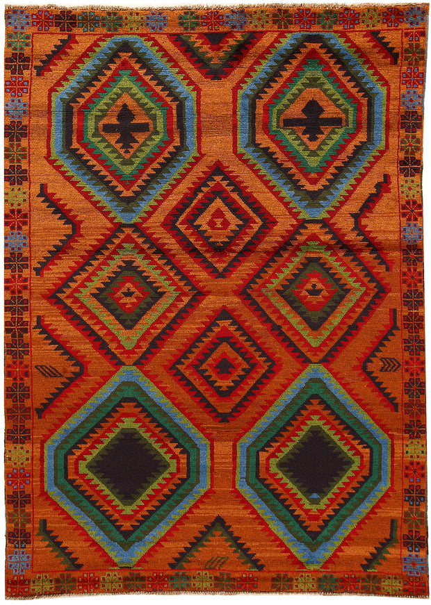Dark Orange Baluchi 5' 9 x 8' 1 - No. 62387 - ALRUG Rug Store