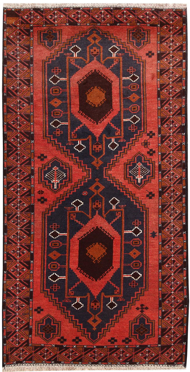 Indian Red Baluchi 3' 6 x 6' 8 - No. 62461 - ALRUG Rug Store