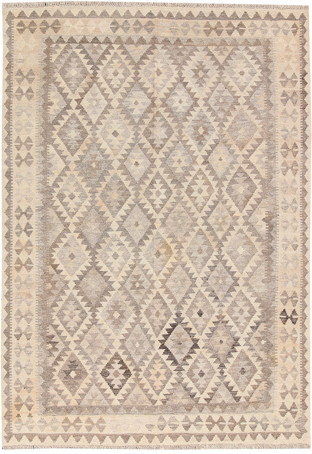Light Grey Kilim 4' 10 x 6' 7 - No. 62916 - ALRUG Rug Store