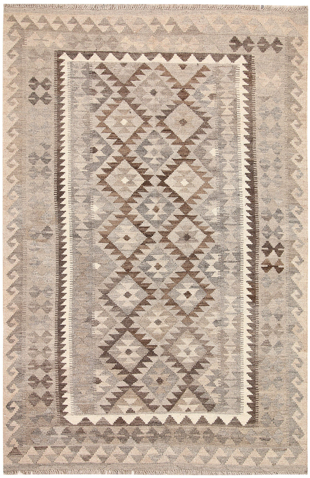 Light Grey Kilim 4' 3 x 6' 7 - No. 62937 - ALRUG Rug Store
