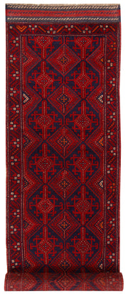 Dark Red Mashwani 2' 6 x 12' - No. 63483 - ALRUG Rug Store