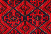 Dark Red Mashwani 2' 6 x 12' 8 - No. 63490 - ALRUG Rug Store