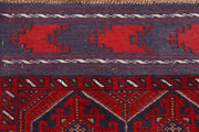Dark Red Mashwani 2' 5 x 12' - No. 63496 - ALRUG Rug Store