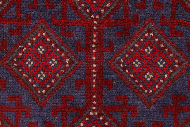 Dark Red Mashwani 2' 5 x 11' 8 - No. 63621 - ALRUG Rug Store