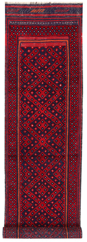 Dark Red Mashwani 2' 1 x 8' 3 - No. 63637 - ALRUG Rug Store