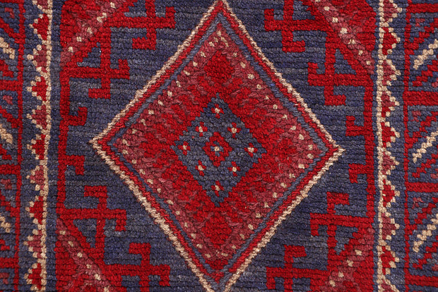 Dark Red Mashwani 2' x 7' 9 - No. 63648 - ALRUG Rug Store