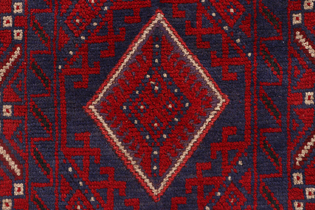 Dark Red Mashwani 2' x 8' 2 - No. 63651 - ALRUG Rug Store