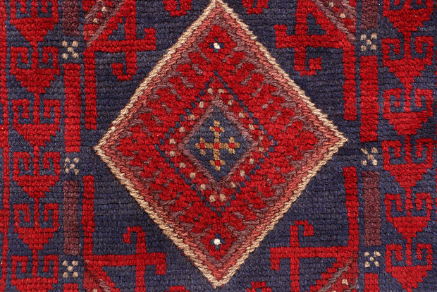 Dark Red Mashwani 2' 2 x 8' - No. 63652 - ALRUG Rug Store