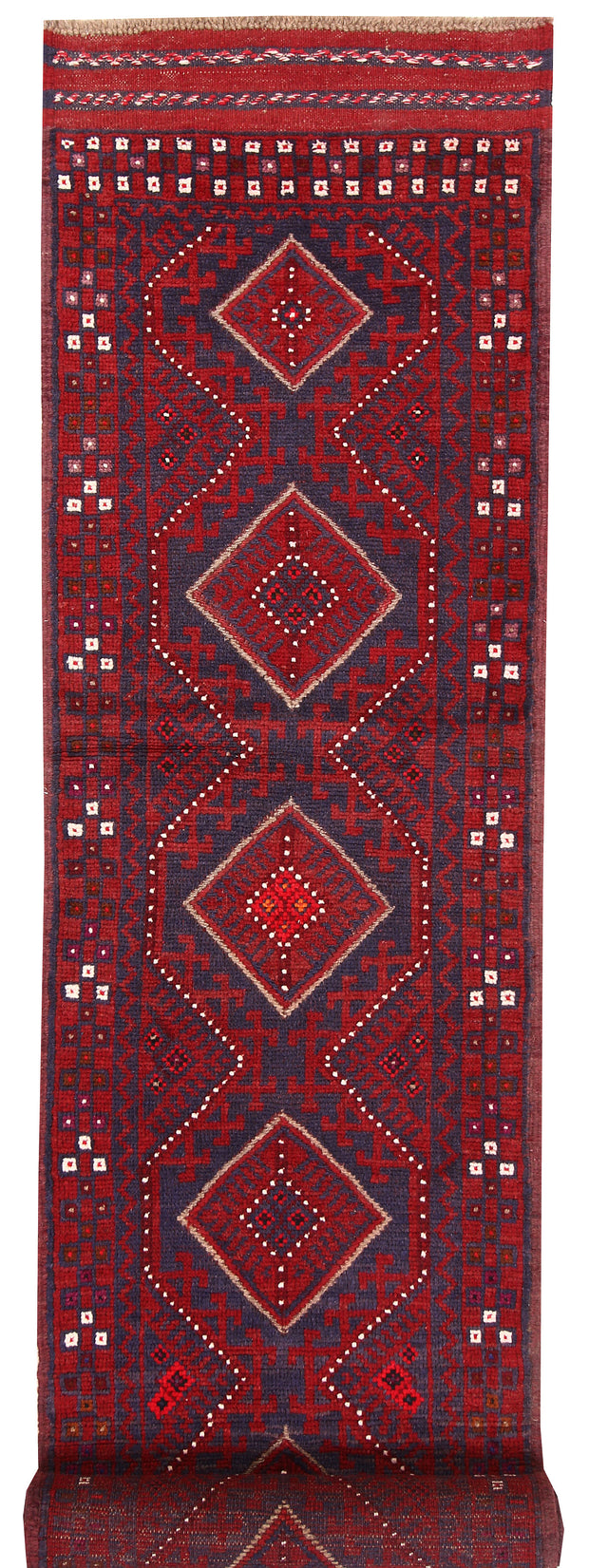 Dark Red Mashwani 2' 2 x 8' 10 - No. 63669 - ALRUG Rug Store