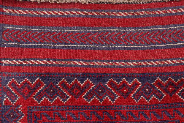 Dark Red Mashwani 2' x 8' 2 - No. 63670 - ALRUG Rug Store