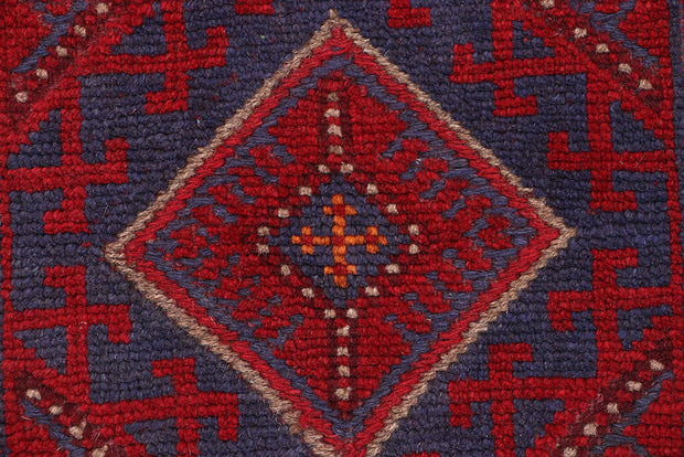 Dark Red Mashwani 2' 2 x 8' 5 - No. 63674 - ALRUG Rug Store
