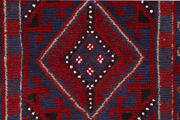 Dark Red Mashwani 2' 1 x 8' 1 - No. 63678 - ALRUG Rug Store
