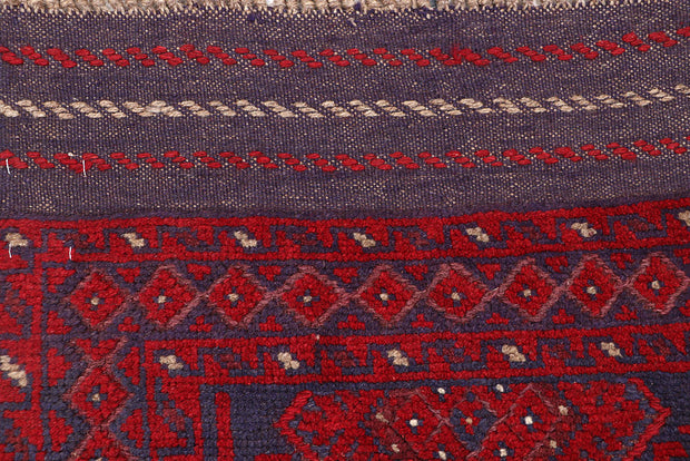 Dark Red Mashwani 2' 2 x 8' 5 - No. 63681 - ALRUG Rug Store