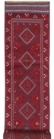 Dark Red Mashwani 2' 1 x 8' 10 - No. 63697 - ALRUG Rug Store