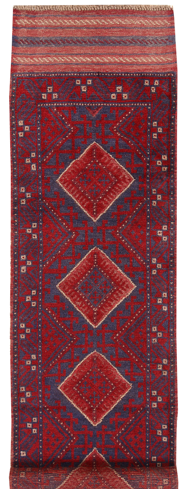 Dark Red Mashwani 2' 2 x 8' - No. 63709 - ALRUG Rug Store