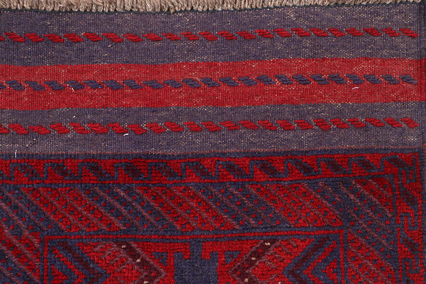 Dark Red Mashwani 2' 1 x 11' 11 - No. 63711 - ALRUG Rug Store