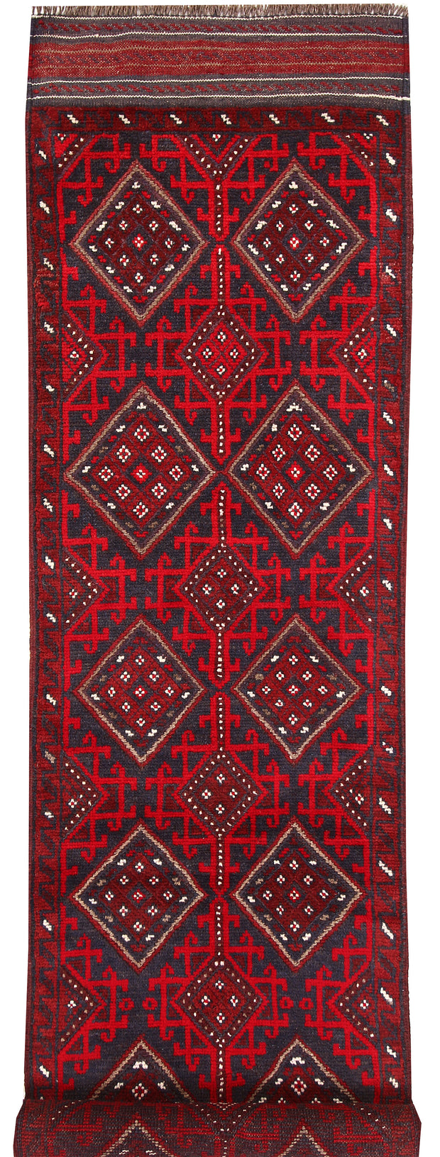 Dark Red Mashwani 2' 2 x 8' 8 - No. 63719 - ALRUG Rug Store