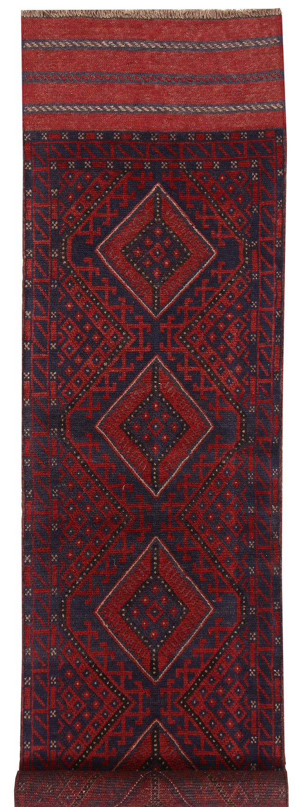 Dark Red Mashwani 2' 1 x 7' 10 - No. 63722 - ALRUG Rug Store